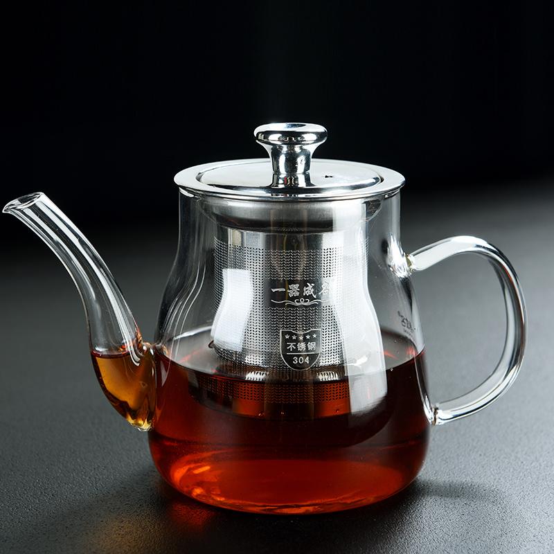 Old wange glass heat-resistant boiled teapot stainless steel inner bile filter separation teapot size home tea maker