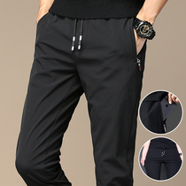 Mens casual pants summer thin ice silk pants slim small foot Korean version of sports pants trend autumn quick dry pants