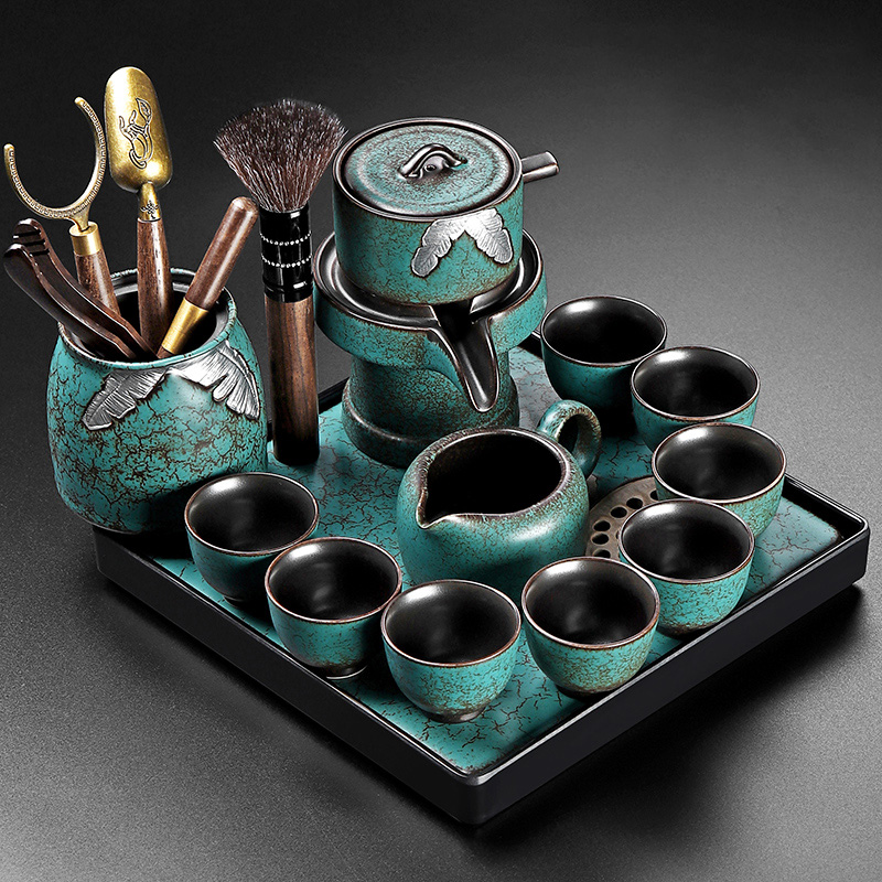 Emerald small set of tea set office guests make tea god set home living room kung fu tea cup guest lazy