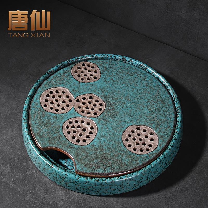 Emerald Kung Fu Tea Plate Round Tea Table Home Small Tea Table Ceramic Dry Bubble Table Small Water Storage Tea Sea Tray