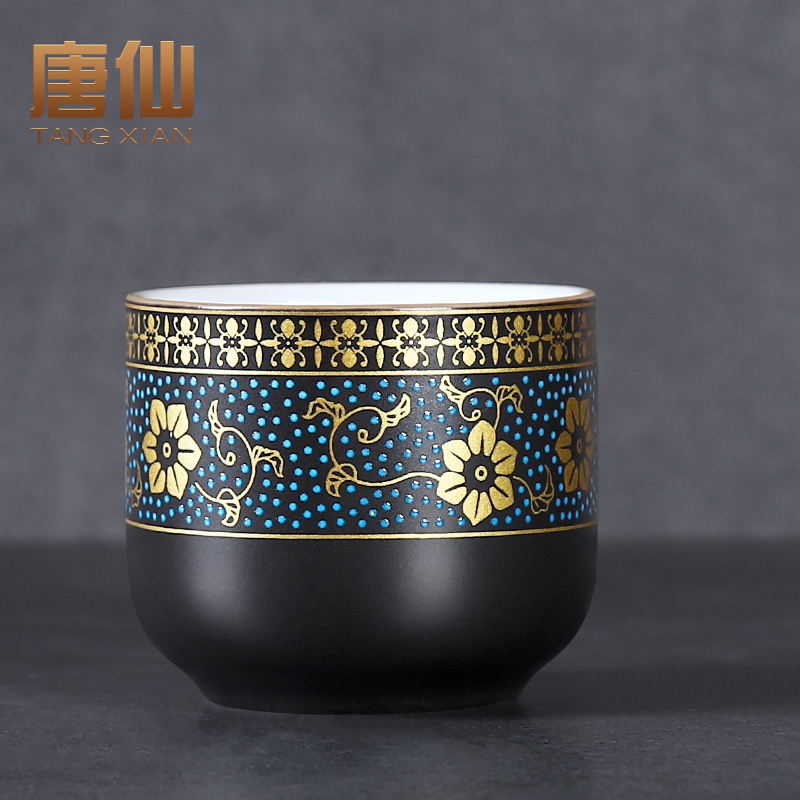 Tang Xian Kung Fu sketched gold tea cup ceramic tea lamp single master cup tasting cup home single cup personal cup tea cup