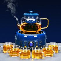 Чайник пивоварения чайник чистый красный и черный кристалл печь полностью автоматической дымяной чайник стеклянный чайник набор домашней плиты приготовления чая