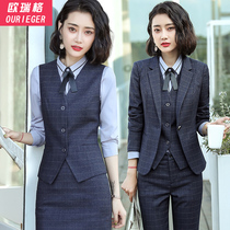 High-end occupation suit plaid suit work clothes female occupation formal autumn and winter fashion temperament career president suit