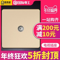 International electrician Champagne Gold panel TV plug two double hole closed circuit gold wall 86 type TV socket