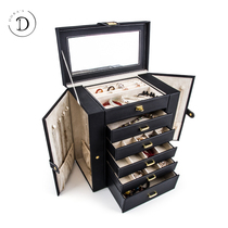 Jewelry box with lock Portable high-grade multi-layer large capacity hand jewelry necklace Jewelry packing storage box Wedding gift