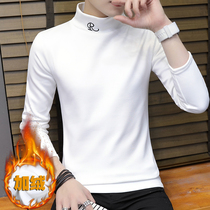 Autumn and winter semi-high-necked mens plush plus thick long-sleeved t-shirt warm autumn clothes mens clothes