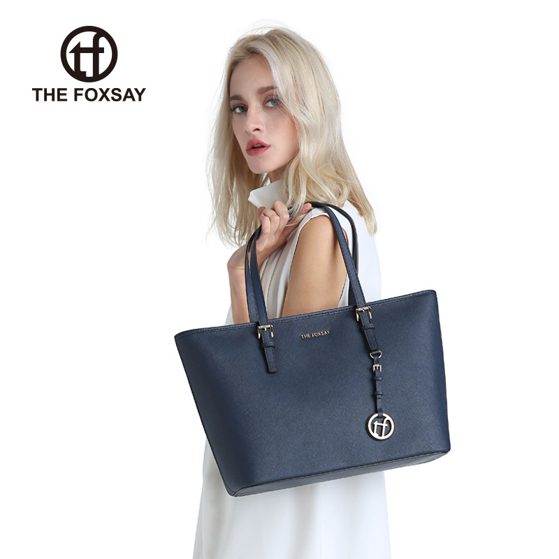 Tf bag female 2018 new handbag leather commute shoulder large capacity shopping bag simple wild tote bag