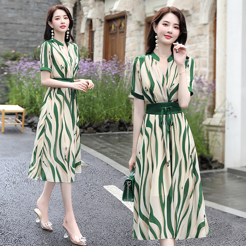 Brother new silk mulberry silk dress 2021 summer womens clothing counter big-name stripe thin skirt