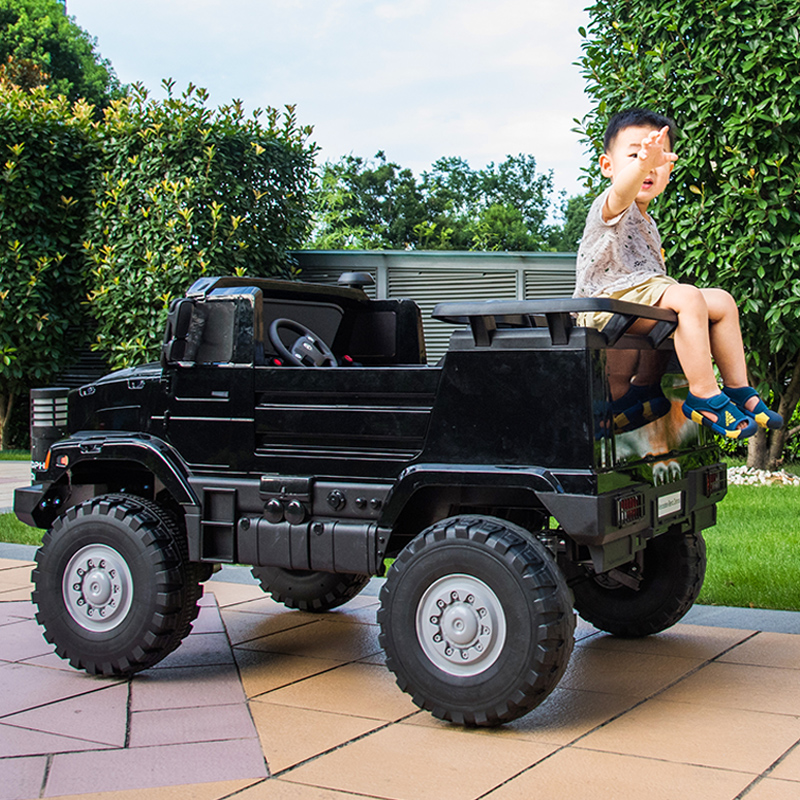 Bins childrens electric car four-wheeled remote control network red car baby big toys can sit in a two-person off-road vehicle