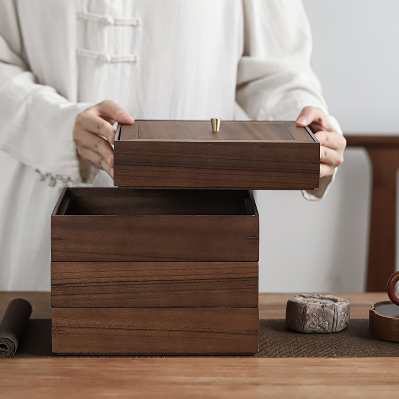 Full black walnut solid wood white tea Puer tea stacking box tea cans tea box cake cans with multi-layer moisture protection