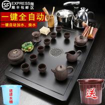 Full set of tea sets Home living room automatic induction cooker Tea cup Tea table Solid wood tea tray One-piece tea sea simple