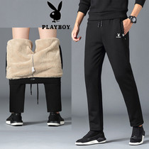 Playboy Plus velvet sweatpants male Winter thickening warm pants cashmere sweatpants casual pants mens small foot pants