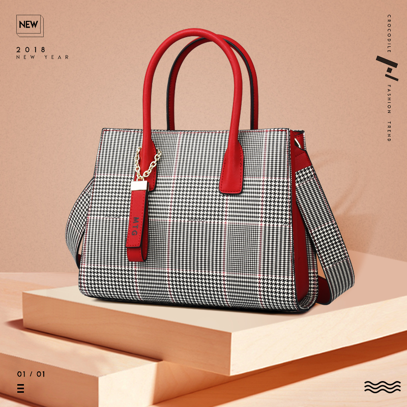 Meng Tejiao Baggage Girl 2019 New Fashion Broadband Slant Baggage Winter Girl Baggage Retro Lattice Handbag Shoulder Bag