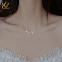 Cat and fish high-end necklace 2021 new womens light luxury niche design sense necklace cold wind sterling silver collarbone chain