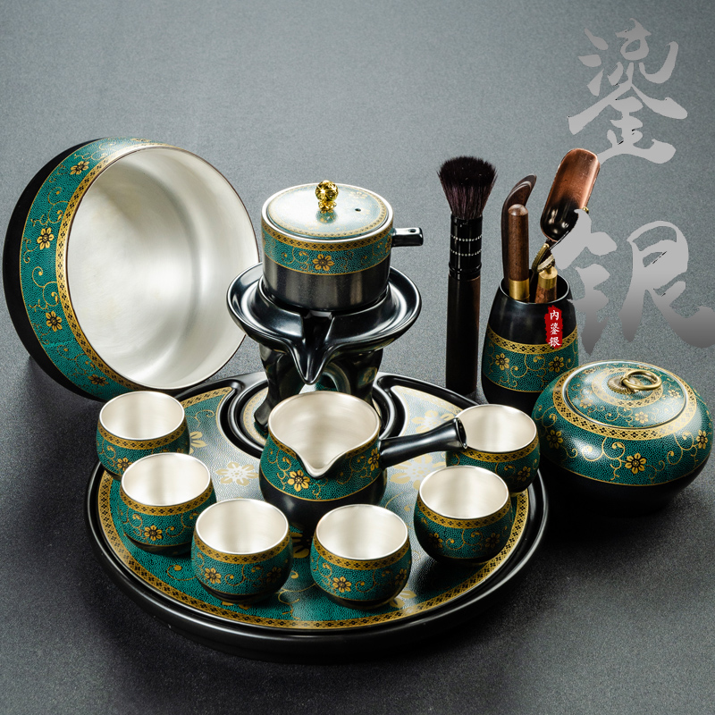 Qin Yi household old mud silver automatic kung fu tea set lazy anti-hot stone grinding set of office tea machine