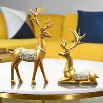 Nordic style money deer resin ornament creative American-style living room TV cabinet wine cabinet decoration Xuanguan