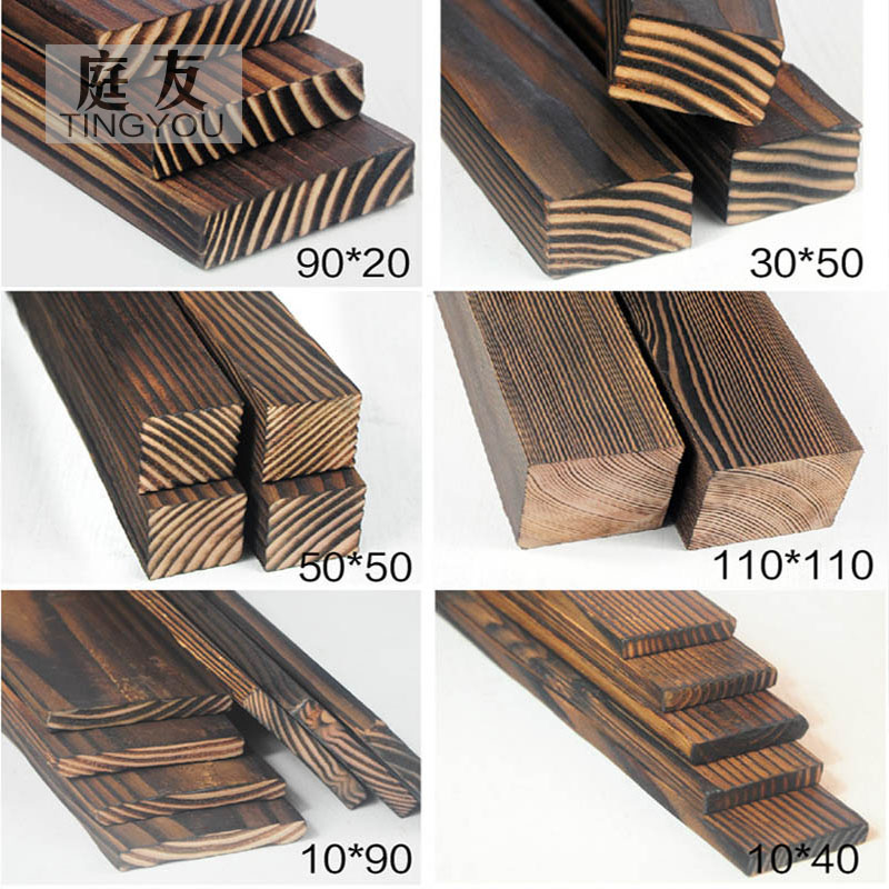 Carbonized Wood Floor Wall Board Outdoor Antiseptic Wood Strip Wood keel fire wood solid wood board