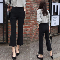 Summer black high waist loose thin style wide-legged trousers