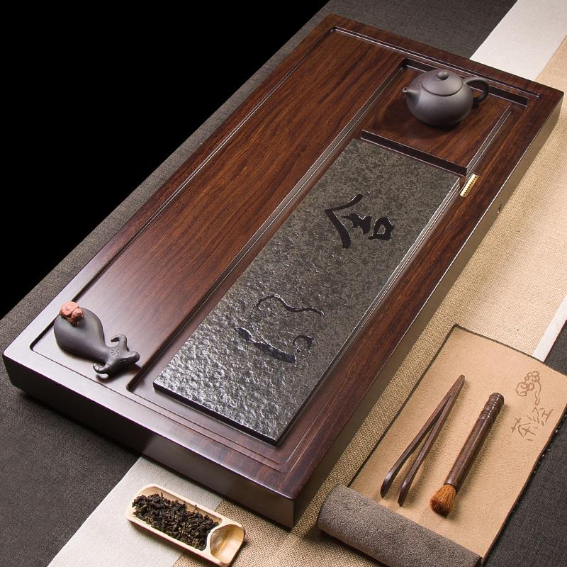 Ebony solid wood tea plate whole piece of wood household kung fu tea set tea sea wujin stone tea plate large simple