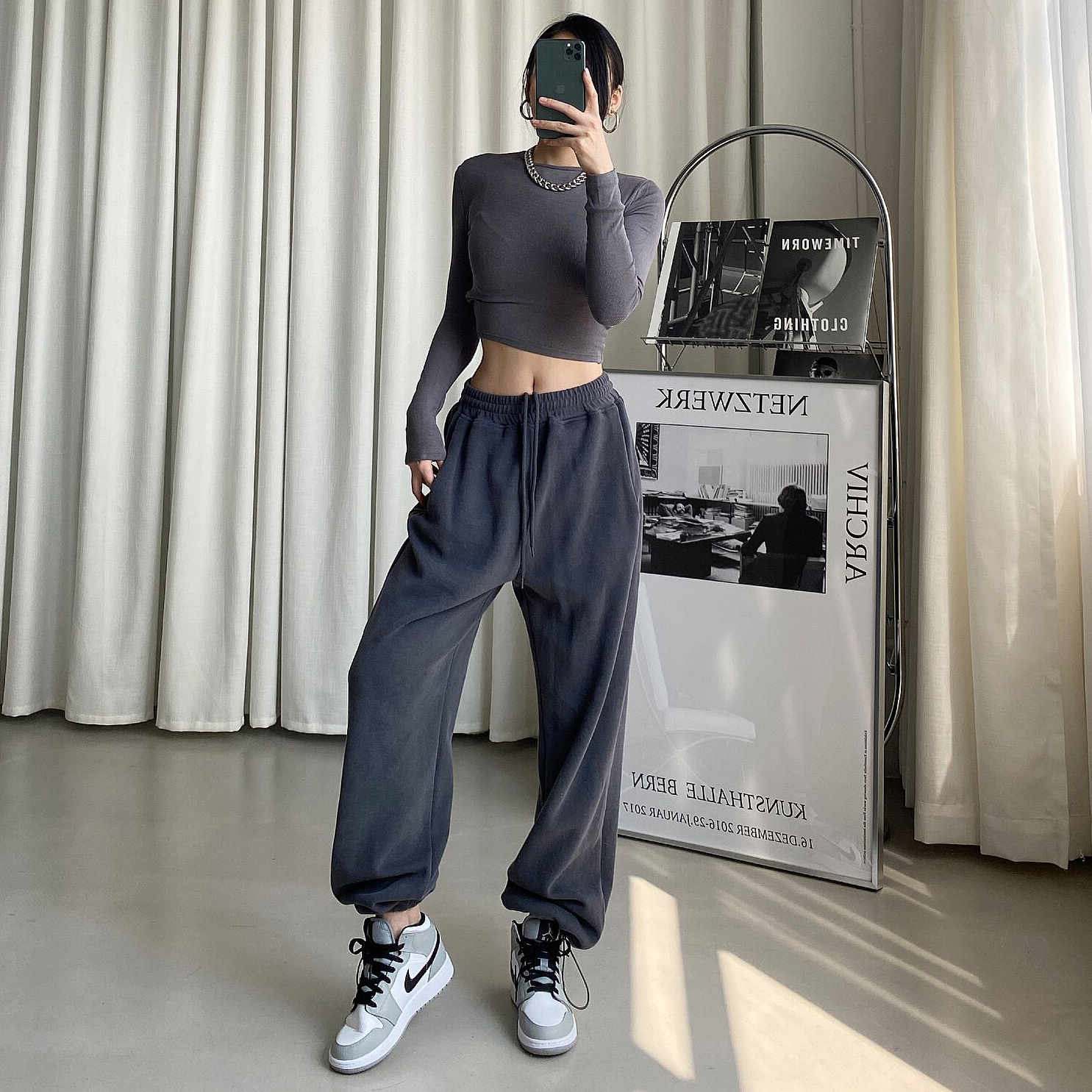 DQSTORE Europe and the United States new high-waisted draw rope loose show thin leggings plus velvet sports casual thick cotton pants Harlan pants girl