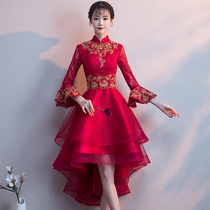 Autumn and winter wine red Noble Chinese thin skirt