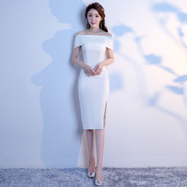 Banquet elegance elegant ladies a word shoulder Evening Dress