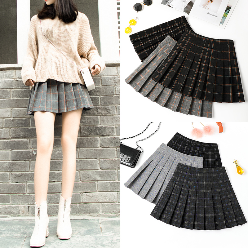 100 pleated skirt women autumn and winter short hair short skirt thick loose tight high waist size a word thin grid skirt