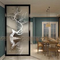 Art nouveau verre 3D en trois dimensions écran mat translucide salon partition entrée couloir fond mur elk