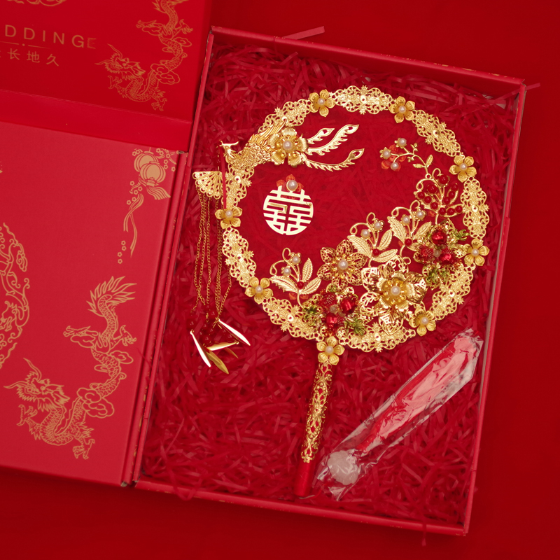 Ancient wind group fan bride wedding celebration Chinese wedding out of the wedding fan hand holding flower diy material bag show dress finished