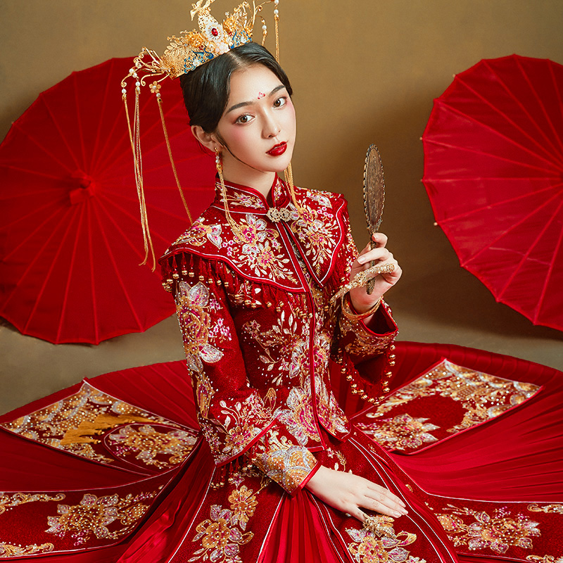 Show clothes 2020 new wedding bride dress Chinese-style show shawl couple show and dress size dragon phoenix hanging