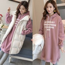 Pregnant women autumn and winter suits out of the fashion autumn and winter top plus velvet thick net red wei clothing loose coat tide mother