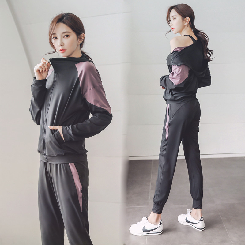 Yoga suit sports suit womens autumn winter long-sleeve temperament net red gym loose show thin casual running clothes