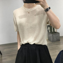 Korea loose base ice silk short-sleeved color striped sweater round neck base mid-sleeve t-shirt Womens summer thin T-shirt