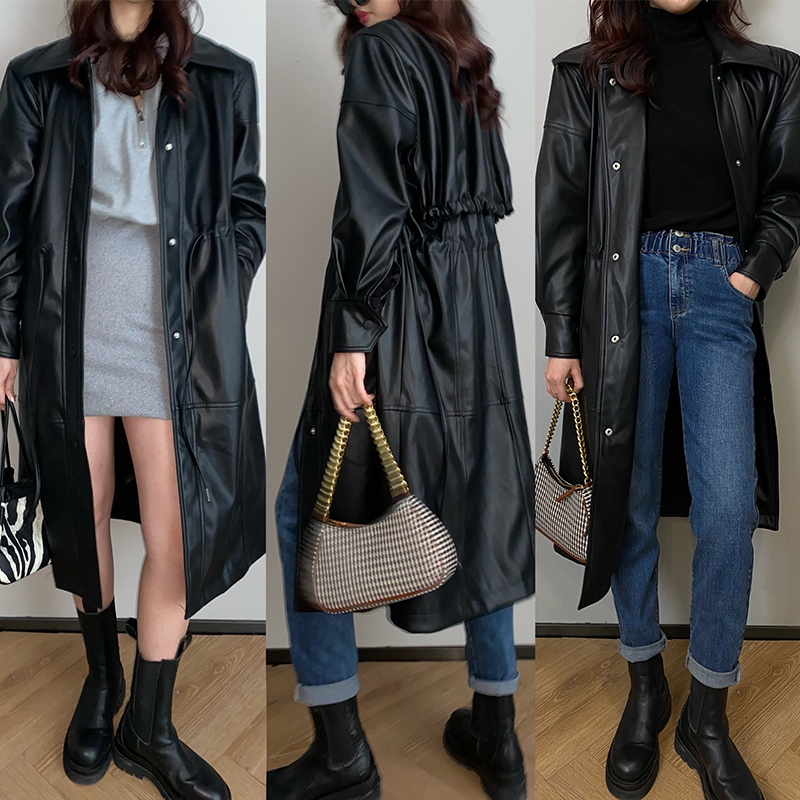 Xiao Qiao Muraguto fat MM (Cool Blast Street) spring design sense of solid color long version of windcoat leather jacket jacket