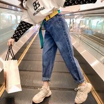 Девушки джинсы 2020 Новая весна корейская версия большие детские брюки свободный воздух папа редька брюки весна и осень прилив