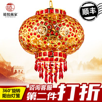 Red Lantern moved to marry Chinese Mid-Autumn Festival celebration ornaments modern minimalist Crystal rotating LED balcony chandelier