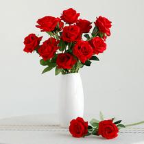 Имитация розы гостиная декор телевизор кабинет цветочные композиции шелковые цветы один пластиковый поддельный цветок букет из сухих цветов украшения
