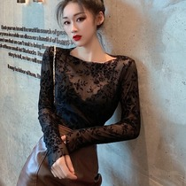 2021 autumn and winter New Black foreign style sexy round neck lace base shirt long sleeve slim body top female