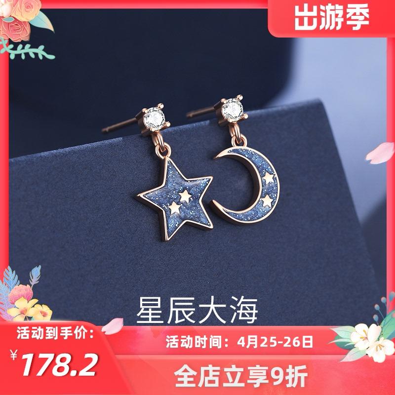 Sterling silver stud earrings 2021 new asymmetrical earrings high sense of light luxury drop earrings Swarovski zirconium