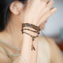 Authentic fidelity Darakan agarwood hand string submersible grade 108 with the shape of natural old material men and women bracelet Buddha beads