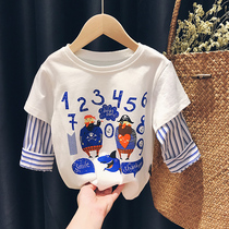 Snoopy SNOOPY boys and girls long-sleeved T-shirt 2020 new spring and autumn Western style baby fake two tops