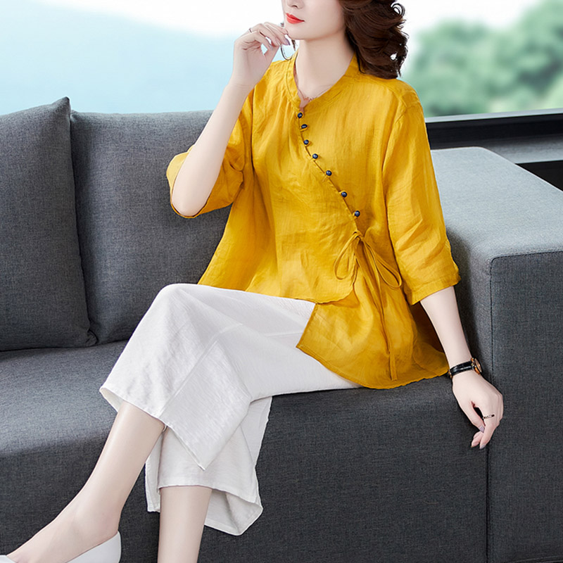 Tang dress womens modified qipao ramie suit two-piece set Chinese style high-end large size womens retro fashion top summer