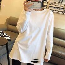 White base shirt Womens interior spring and autumn winter 2021 new cotton plus velvet long sleeve T-shirt womens long style Foreign