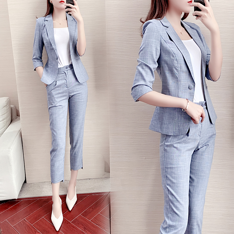 Nine-point pants small suit jacket 2021 summer and autumn fashion women British style casual suit fashion suit women
