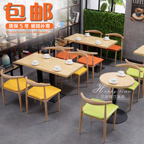 Simple fast food restaurant table and chair combination economy snack bar tea shop restaurant restaurant tables and chairs