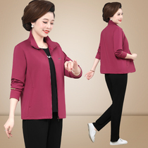 Middle-aged and elderly spring and autumn large coat young mother autumn dress foreign style three-piece New middle-aged lady sports suit