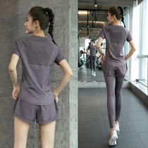 Sports suit for women summer thin loose large size breathable fast drying clothes professional high-end gym running yoga clothes