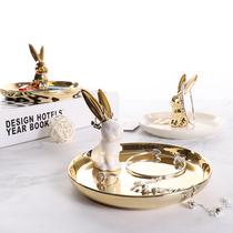 Nordique vent en céramique bijoux plateau Daffichage dor lapin plateau de rangement Tir Accessoires chambre petit bijoux ornements