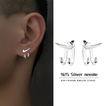 2021 new trend personality hip-hop to hook claw earrings for mens INS small number of high sense earrings for womens single