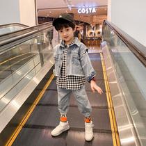 Маленькая детская одежда для мальчиков весна и осень костюм 2020 корейская версия нового детского ковбойского набора из трех частей 2019 весенний прилив